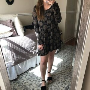 Patterned Long Sleeve Mini Dress